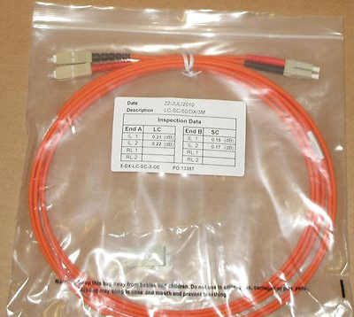 10 x 3M Fibre Channel SC-LC Patch Lead Cable 50/125 SC-LC/50/DX/3M Duplex FC