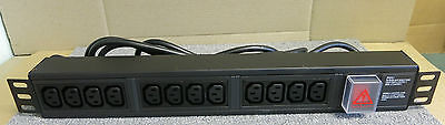 12 way Horizontal IEC C13 PDU with switch to 3m lead, UK plug New - HIEC/12