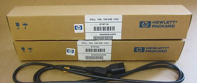 "2 x HP 19"" 8 Port Power Distribution Units PDU 16A & 10A E7672A - E7670A + Cable"