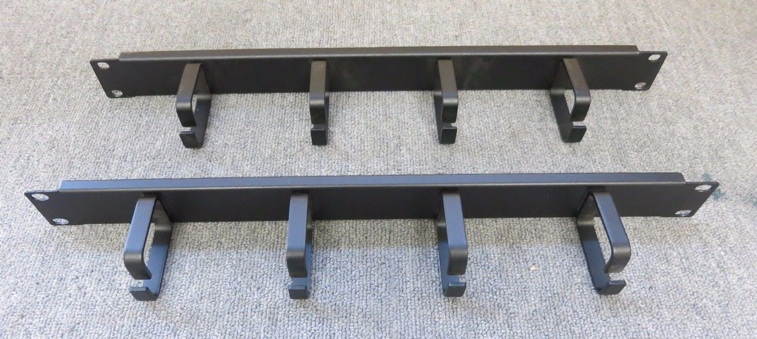 2 x Cabinet Cable Tidy Bar Vertical Black 4 Ring Hoops 19 1U