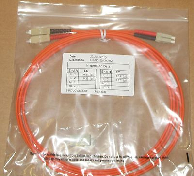 20 x 3M Fibre Channel SC-LC Patch Lead Cable 50/125 SC-LC/50/DX/3M Duplex FC