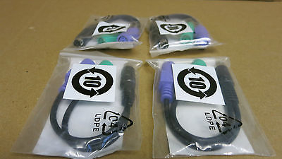 4 x New Dell 0D4002 PS/2 Keyboard / Mouse Splitter Cable Adapter
