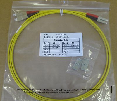 5 x 2M Fibre Channel SC-LC Patch Lead Cable 50/125 SC-LC/50/DX/2M Duplex FC