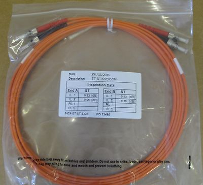 5 x 3M Fibre Channel ST-ST Patch Lead Cable 50/125 ST-ST/50/DX/3M Duplex FC