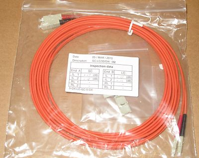 5 x 5M Fibre Channel SC-LC Patch Lead Cable 50/125 SC-LC/50/DX/5M Duplex FC