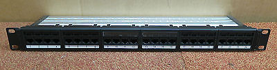 "Global 6 Category 6 24 Port RJ45 1U 19""  Patch Panel Black With Cable Management"