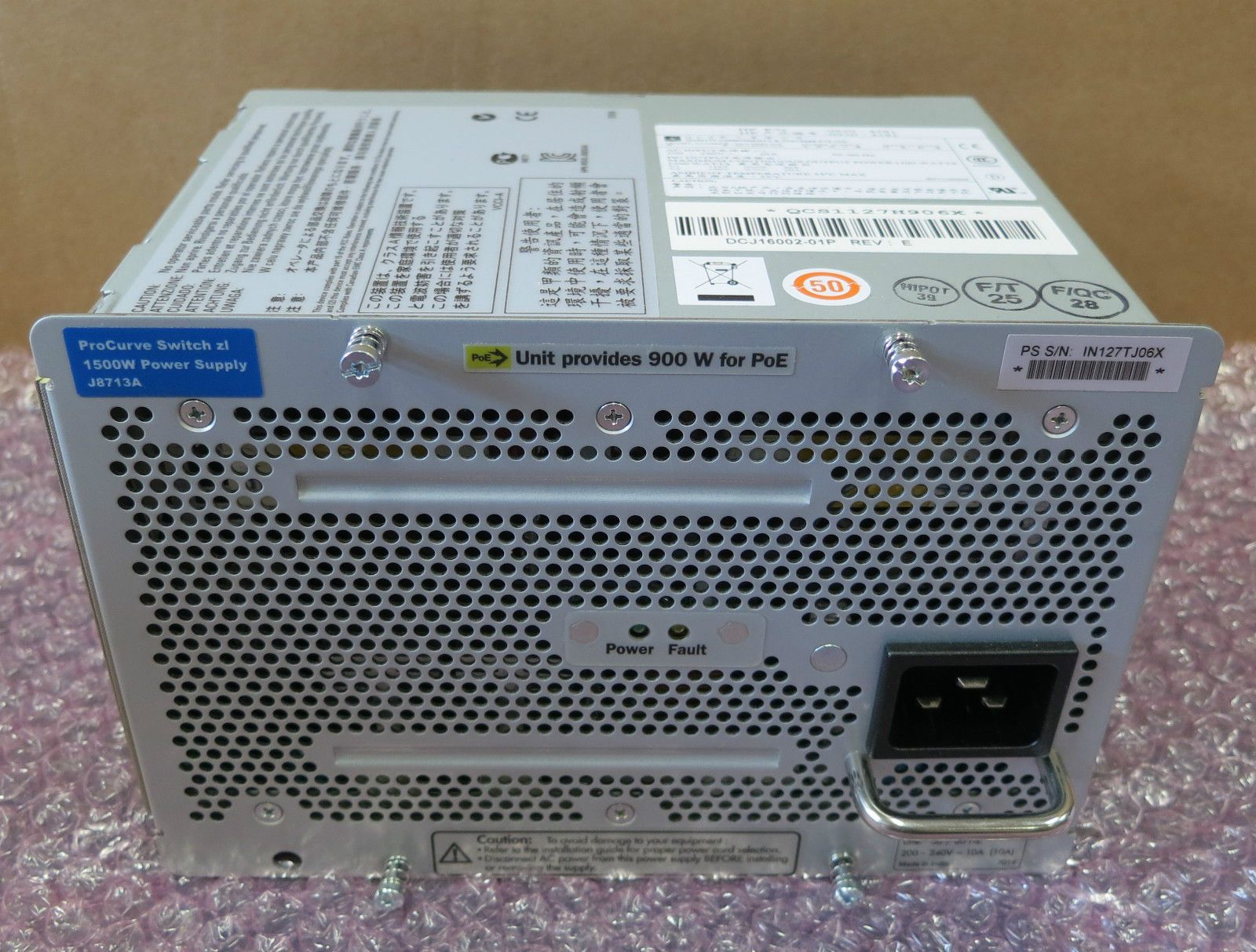 HP ProCurve Switch Zl 1500w Power Supply PSU 900w For PoE J8713A