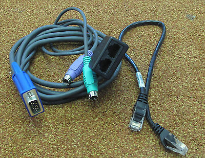 "IBM KVM VGA/PS2 1.5M Conversion Cable with 15"" Cat5 Ethernet Patch Cable,26K4177"