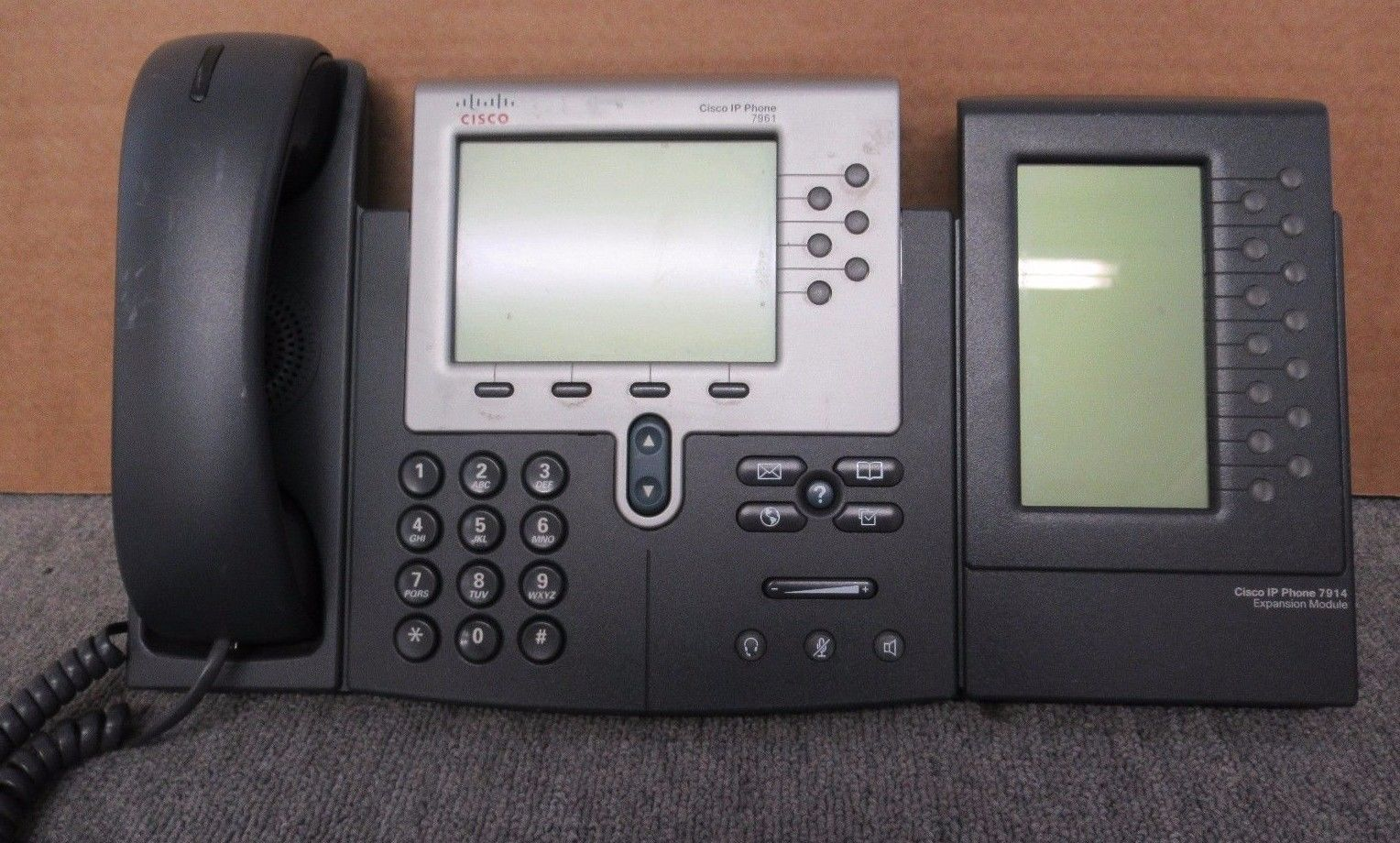 Cisco CP-7961G Unified IP VoIP Business Phone Handset + Expansion Module  7914