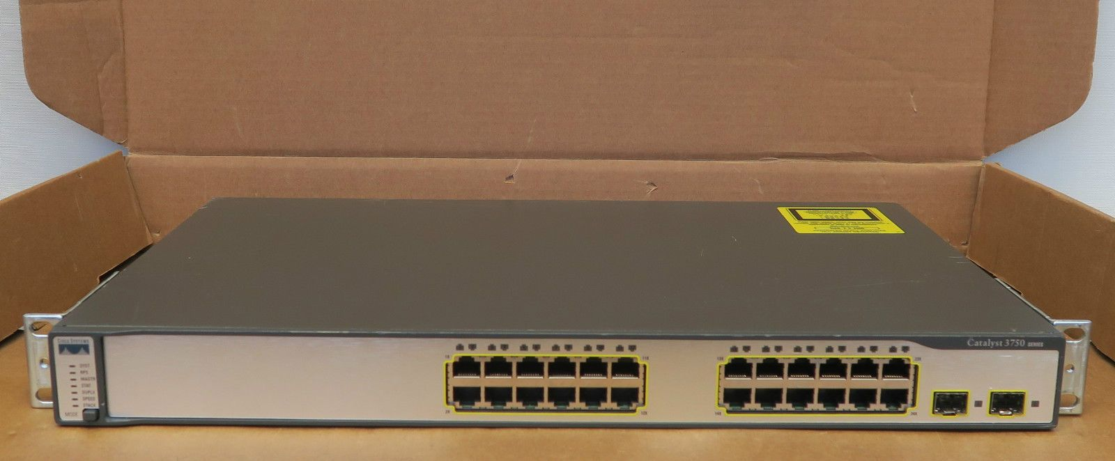Cisco WS-C3750-24TS-S Catalyst 24 Port Gigabit Ethernet Network Switch W/  Ears