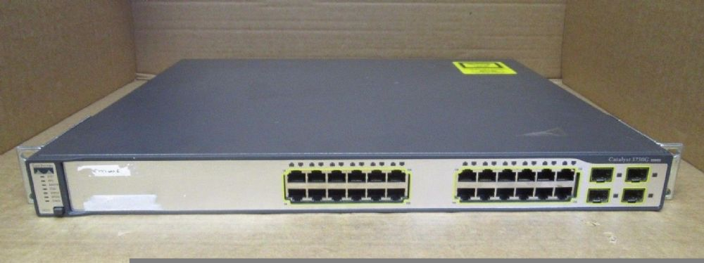 Cisco WS-C3750-24TS-E 24-Port 10//100 /& 2 GIgabit SFP L3 Managed Rackmount Switch