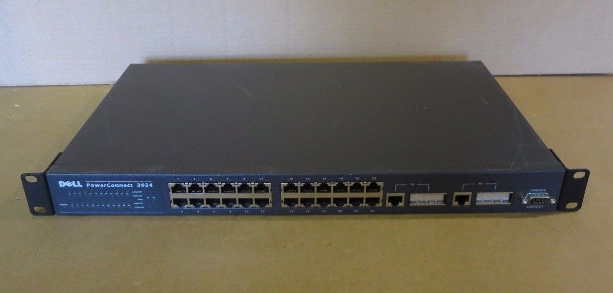 Dell PowerConnect 3024 24 Port Fast Ethernet 2 Gigabit Ports Network 7X722