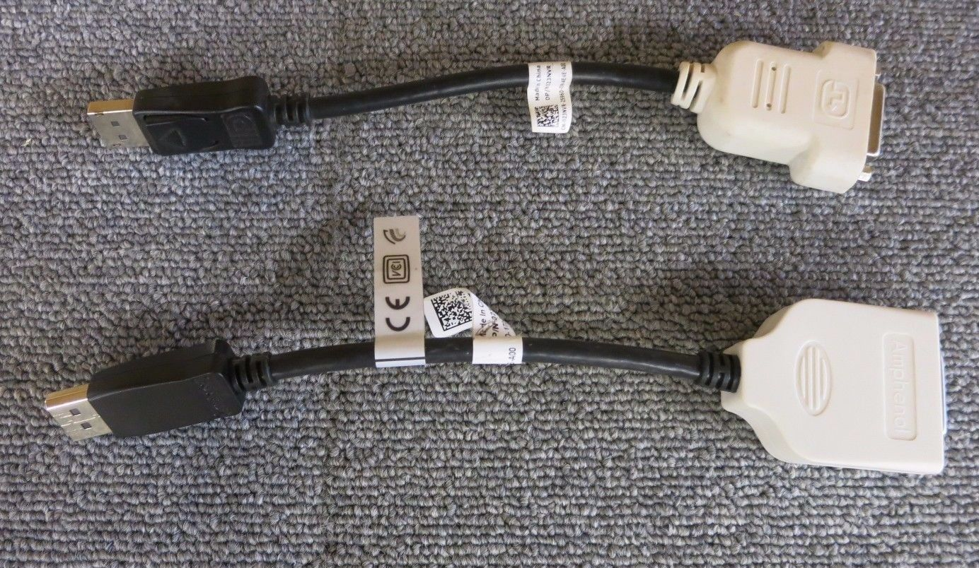 Lot Of 2 Dell 023NVR Display Port To DVI-D Dual Link Video Adapter Cable
