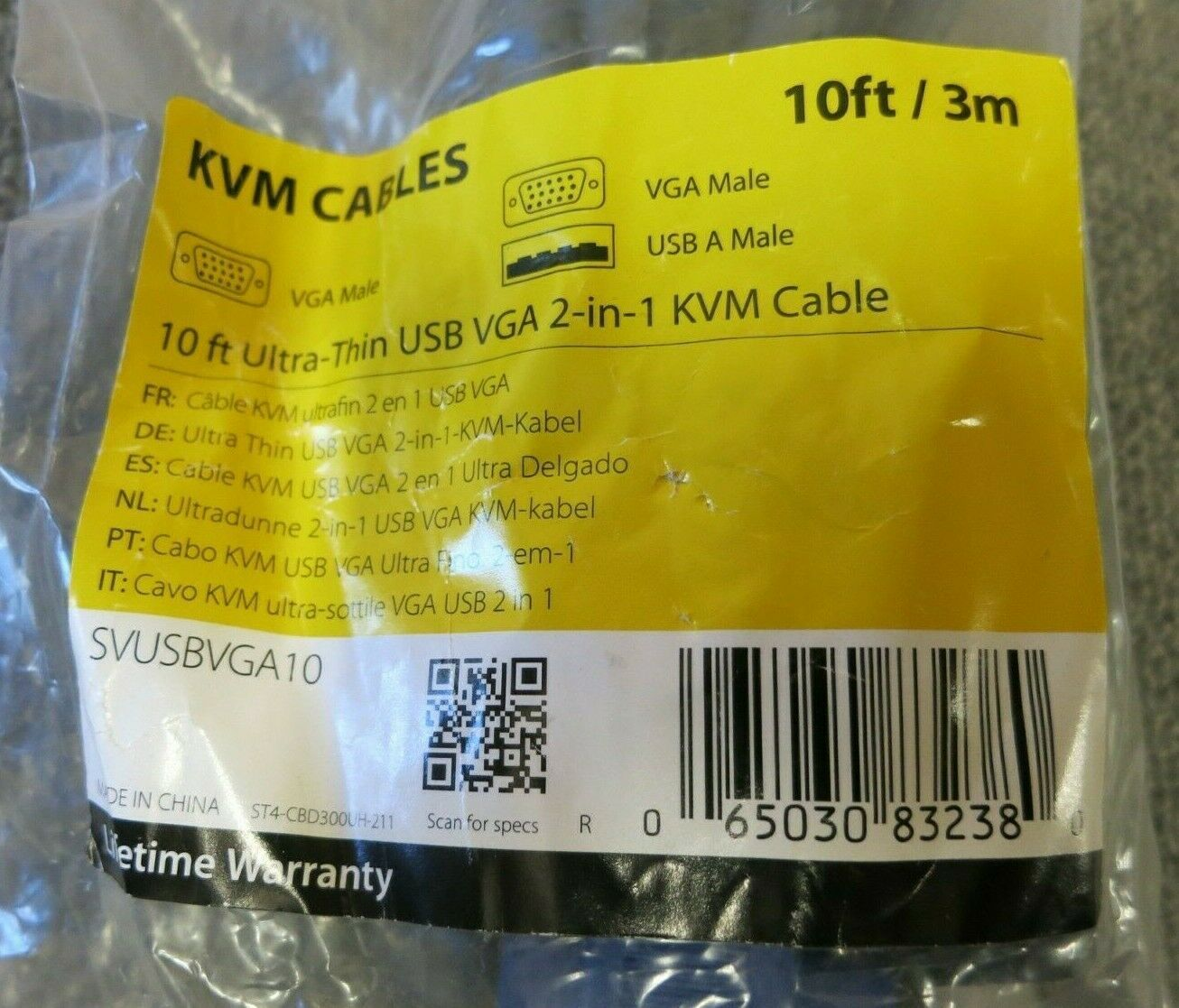 Ultra-Thin USB VGA 2-in-1 KVM Cable SVUSBVGA10 StarTech 10 ft